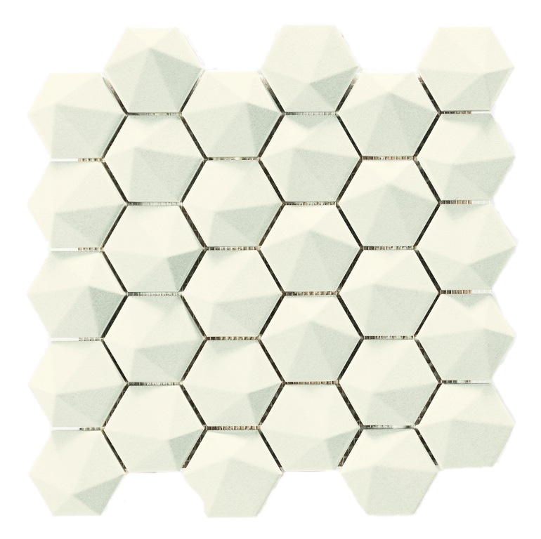 3D Hex Snow White 340×326 – The Tile Company